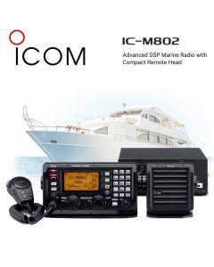 Icom IC-M802 Advanced Long Range 125W MF/HF DSP SSB Marine Radio with Compact Remote Head