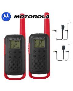 8Km Motorola TLKR T62 Walkie Talkie Two Way Licence Free 446 PMR Security Leisure Radio – Twin Pack Red + 2 Headsets