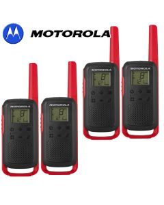 8Km Motorola TLKR T62 Walkie Talkie Two Way Licence Free 446 PMR Security Leisure Radio – Quad Pack Red