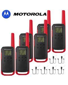 8Km Motorola TLKR T62 Walkie Talkie Two Way Licence Free 446 PMR Security Leisure Radio – Six Pack Red + 6 Headsets
