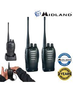 Midland G10 PMR446 License Free Handheld Two Way Radio Walkie Talkie Twin Black