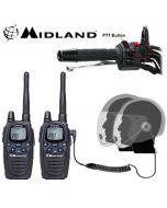12km Midland G7 Pro Dual Band Motorbike Walkie Talkie PMR Radio Intercom kit with HM-900 Close Face PTT Headsets
